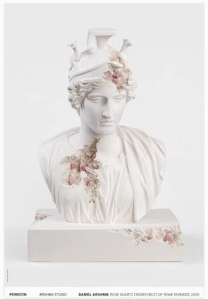 DANIEL ARSHAM ROSE QUARTZ ERODED BUST OF ROME DIVINISÉE, 2020 (SIGNED) - NUM.