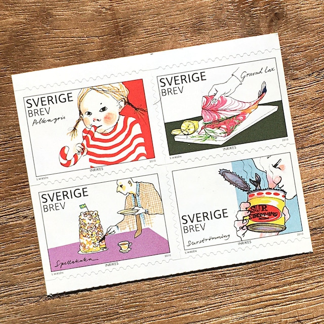 シール切手(未使用)「食の豊かさ - 4種セット(2010年発行)」