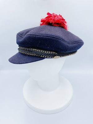 MUVEIL ゴールドチェーン & ブラックコード アンティーク釦 コサージュ飾り マリン帽