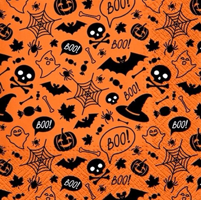 【PAW】バラ売り2枚 ランチサイズ ペーパーナプキン Halloween Pattern オレンジ