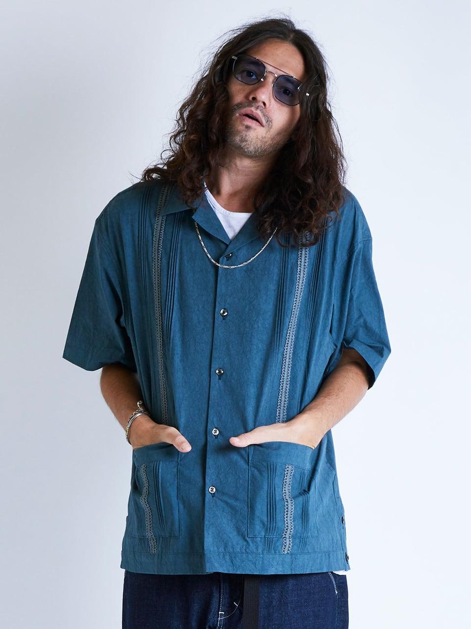 EGO TRIPPING (エゴトリッピング) FADE CUBA SHIRTS フェイドキューバシャツ / SAX 613817-80
