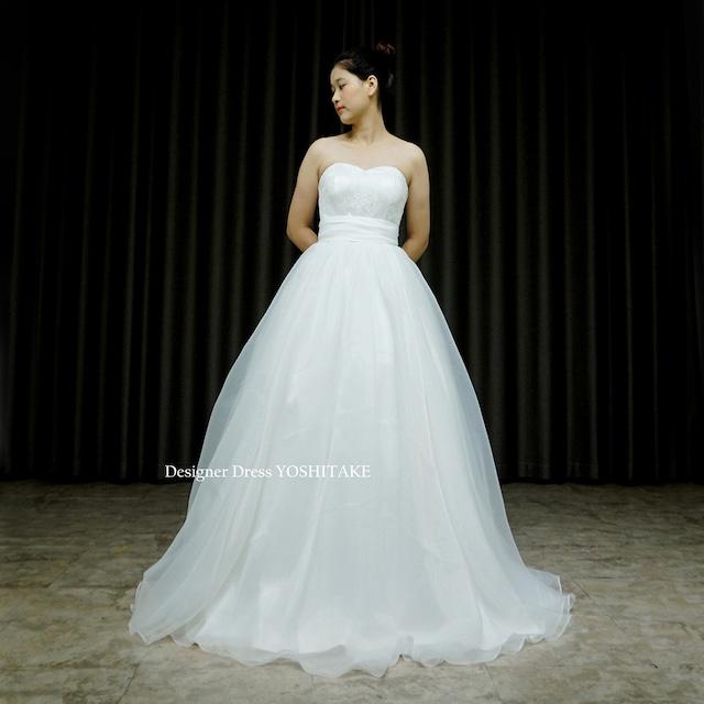 【オーダー制作】ウエディングドレス(無料パニエ) Aライン白ドレス.オーガンジー.挙式.カジュアルウエディング.フォトウエディング※制作期間3週間から6週間
