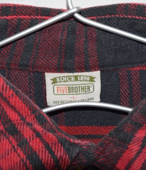 USED FIVE BROTHER CHECK SHIRT -RED-