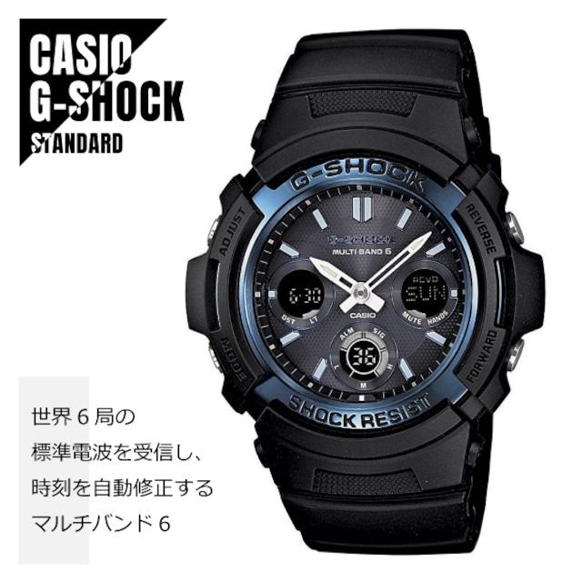 【即納】CASIO カシオ G-SHOCK Gショック 電波 マルチバンド6 タフソーラー AWG-M100A-1A ブルー×ブラック 海外モデル 腕時計