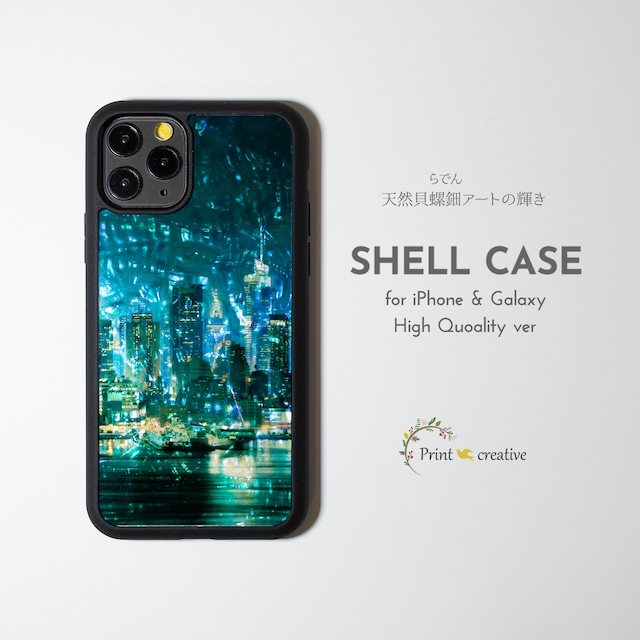【iPhone13対応】天然貝シェル★都会の夜景(iPhone/Galaxyハイクオリティケース)|螺鈿アート