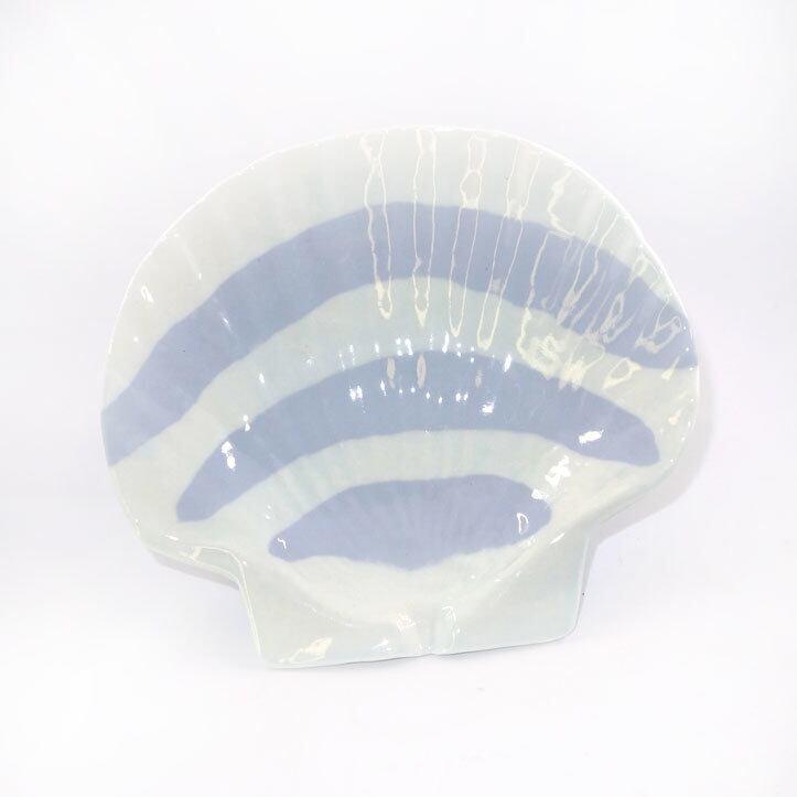 ホタテ貝皿(青味白色縞模様)T-7