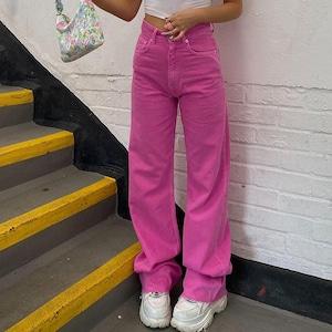 2742レディース デニムパンツ ネオンカラー 蛍光色 ジーンズ ジーパン ダンスパンツ 衣装 ヒップホップダンスウェア 原宿系 カジュアルパンツ ロングパンツ ストリート