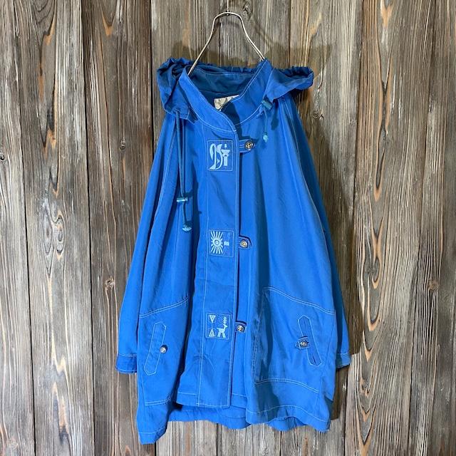 [used]deep blue embroidery design half coat