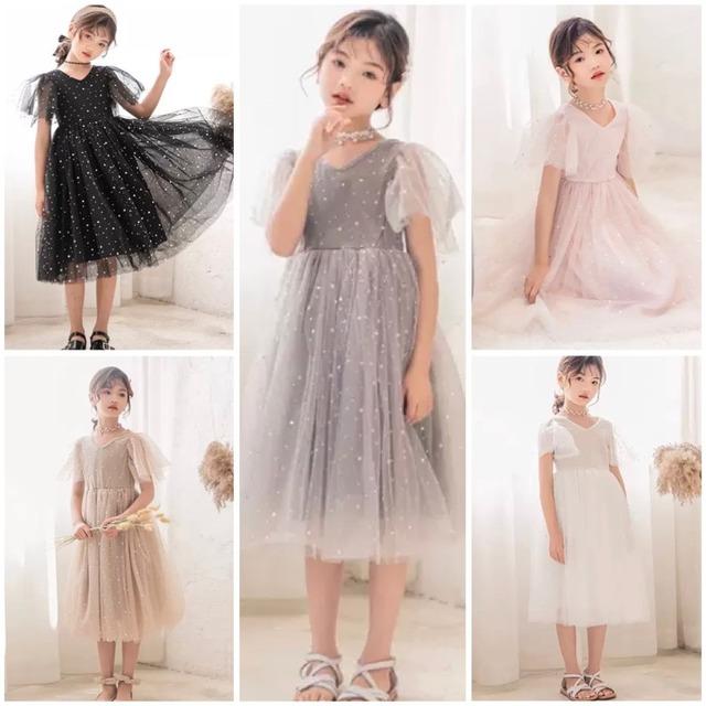 110~170cm 4カラー★ ワンピース ドレス お呼ばれ シースルー 異素材 キラキラ