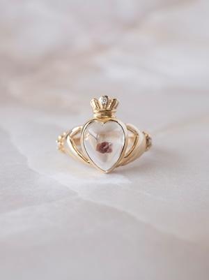 Garnet in Quartz Claddagh Ring