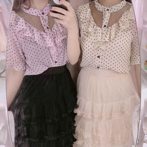 Dot high-neck blouse