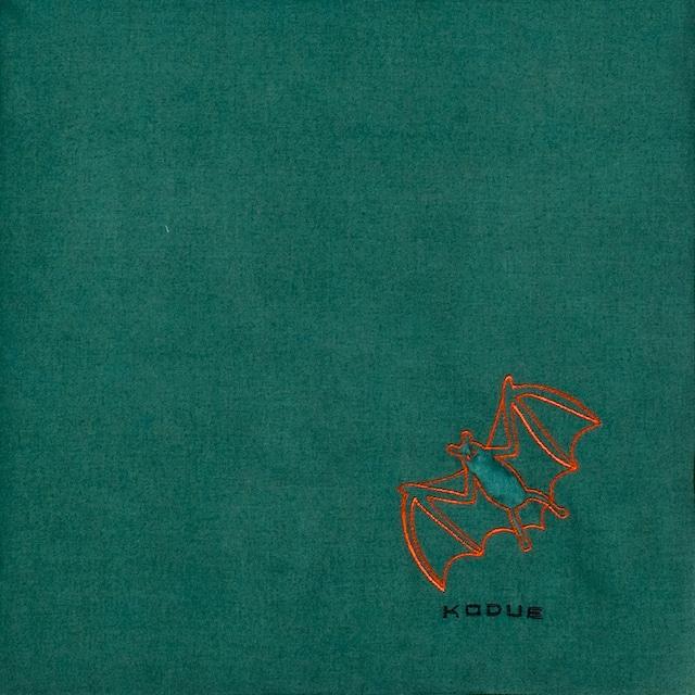 ひびのこづえ ハンカチ ふくらまし / コウモリ グリーン 刺繍入り 2枚合わせ 48x48cm KH07-02