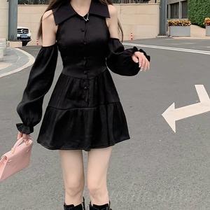 【ワンピース】韓国系長袖POLOネックAライン透かし彫りワンピース52263618