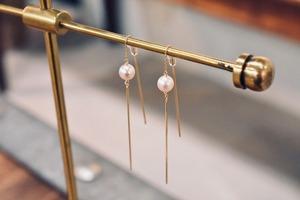 Pearl & Chain ピアス / K18YG