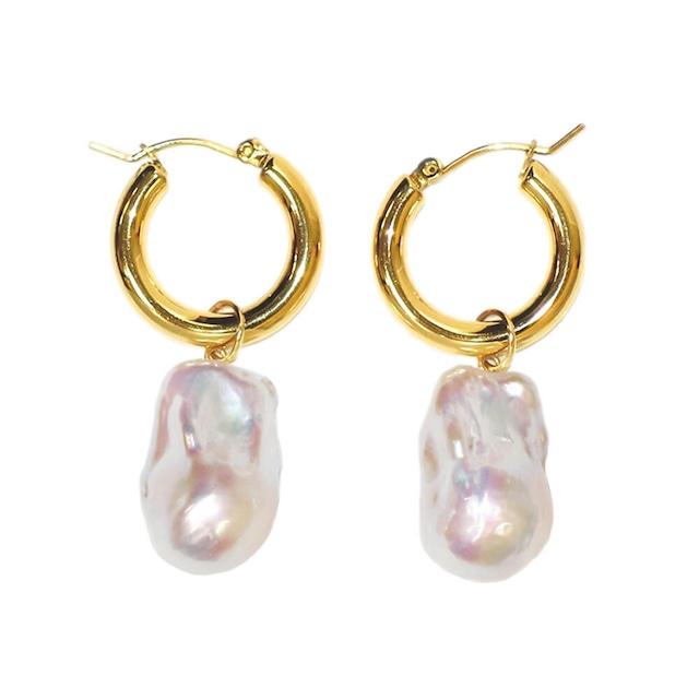〈Sクラス〉3WAY baroque pearl hoop pierce ピアス