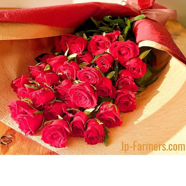 国産 赤バラ 品種はこちらにお任せ 花束ラッピングあり 30本