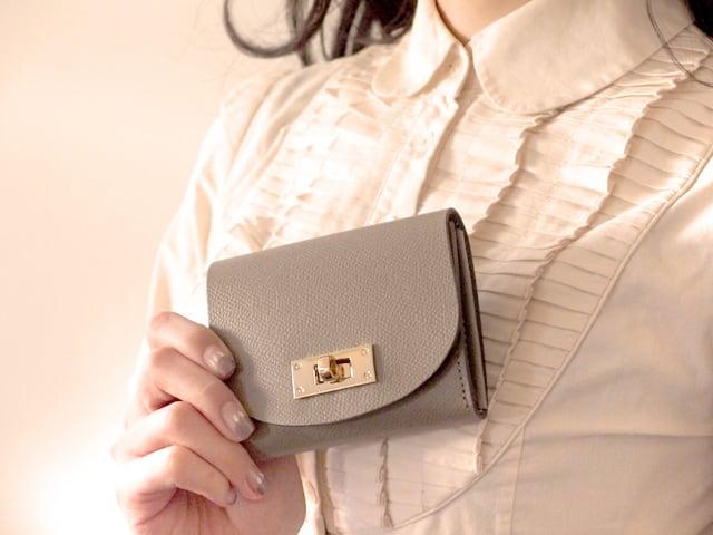 【限定色】身軽にキメたい時のコンパクト財布 T式パーティーレザー・グレージュ