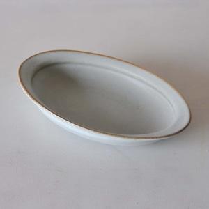 中林範夫(さんちゃ窯)白楕円パスタ皿(015)