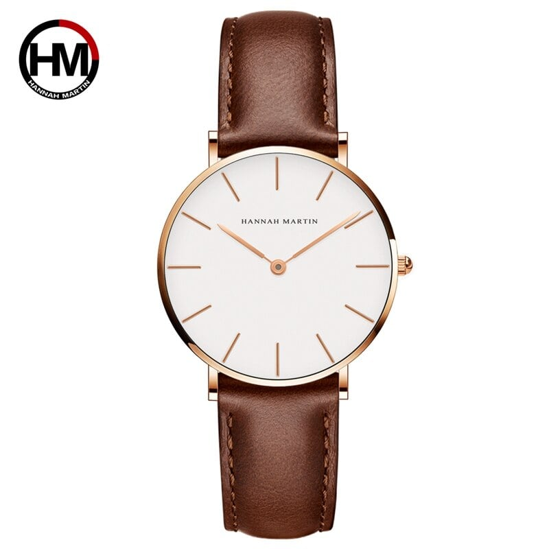 ジャパンクォーツシンプルな女性のファッション時計ホワイトレザーストラップレディース腕時計ブランド防水腕時計36mmCB36-FK