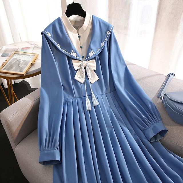 【篱笆外有只猫シリーズ】★チャイナ風ワンピース★ セーラー服 刺繍入り 可愛い ブルー 青い 大きいサイズ