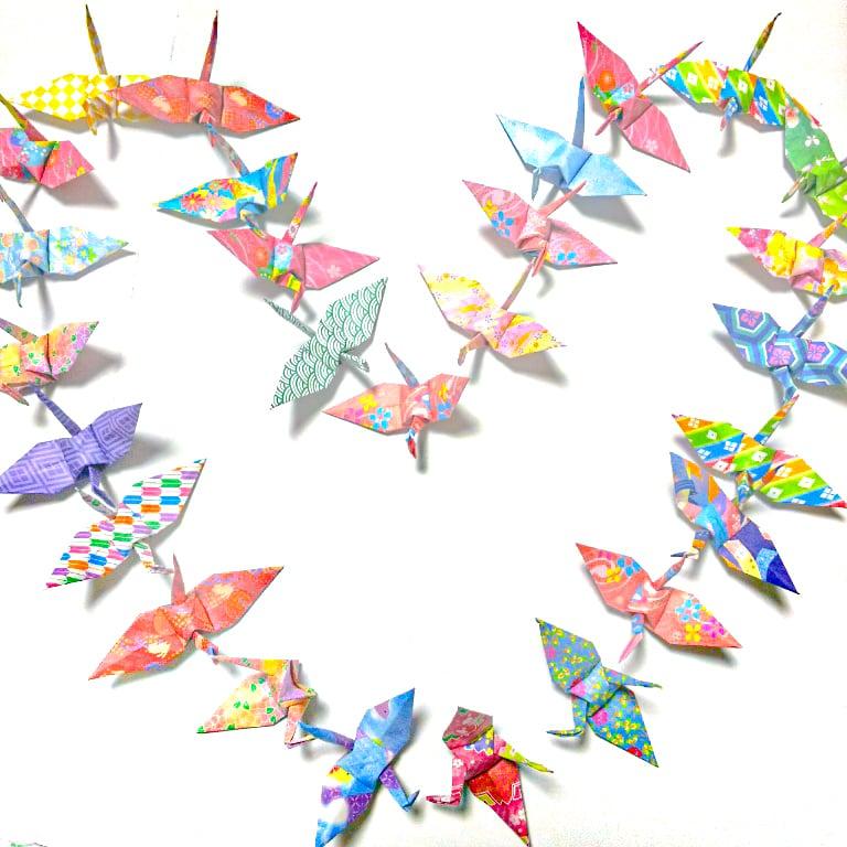 モダン和柄の折り鶴 (神前式、和装婚折り鶴シャワー演出・和風撮影小物) 180羽入り
