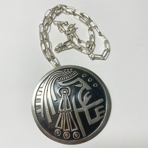 Vintage 925 Silver Mayan Warrior Overlay Pendant Top With Chain Made In Mexico