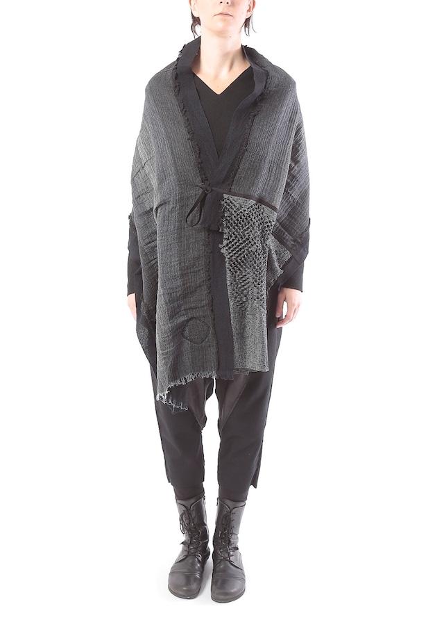 [着るストール]DRESS SCARF【WOOLxCOTTONウールxオーガニックコットン】 ドレススカーフ   二重織 BLACK/BLUE  2154[送料/税込]