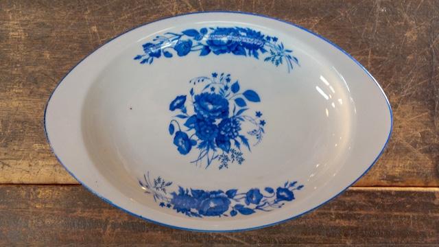 昭和な青い薔薇のカレー皿