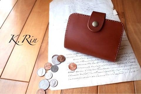 【受注制作】シンプルデザインの2つ折りハーフ財布  (KA100b2-3)