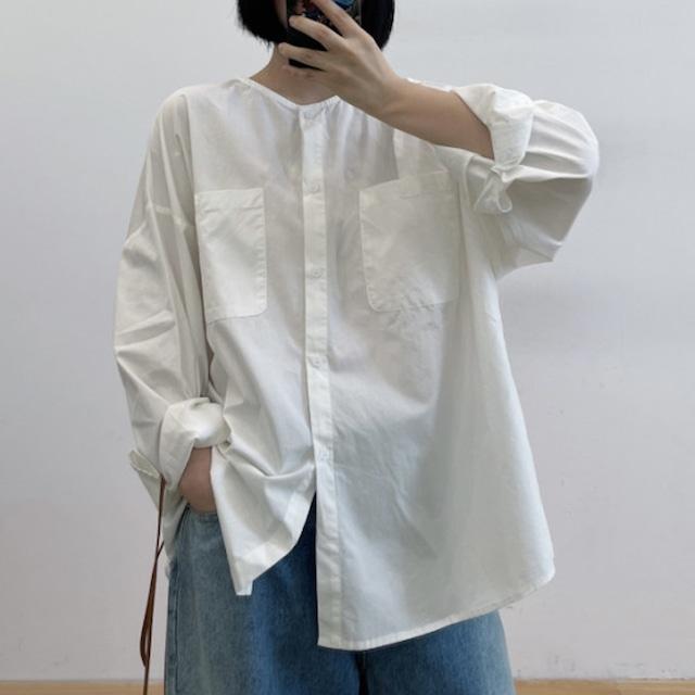 ノーカラーオーバーサイズシャツ 3colors