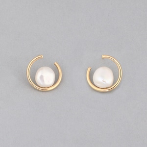 Keshi pearl circle pierce