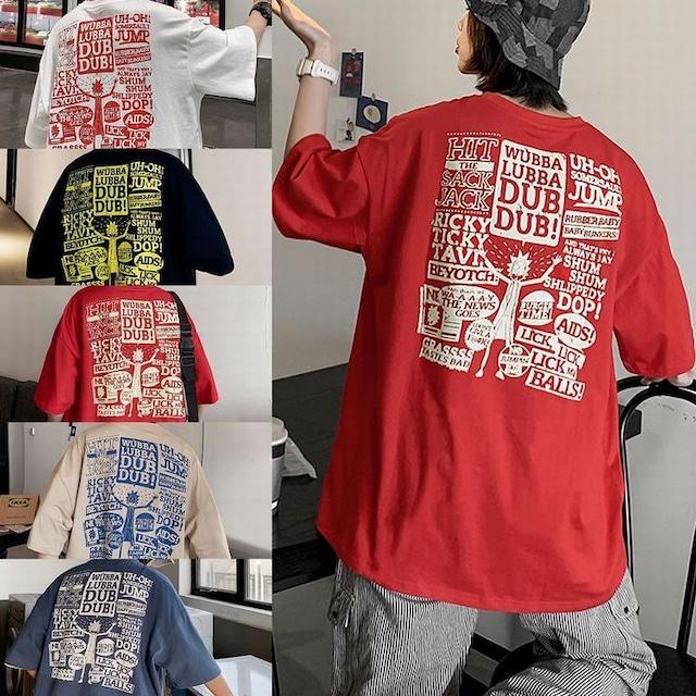 ユニセックス 半袖 Tシャツ メンズ レディース 顔 英字 バックプリント オーバーサイズ 大きいサイズ ルーズ ストリート TBN-613693349231