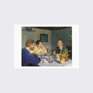 クロイア ポストカード 「朝食ー画家とその妻マリーイ、作家のオト・ベンソン」