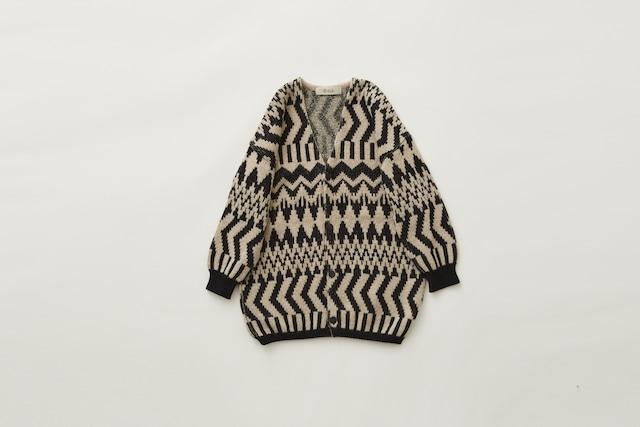 (予約8月入荷)【21AW】eLfinFolk(エルフィンフォルク) Folk jacquard cardigan(110/130) ニット カーディガン