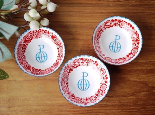 エナメルの赤い小皿3P  Steinbock EMAIL オーストリア ホーロー