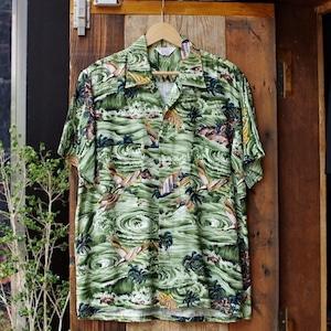 NOS ? 1960s SPORTS WEAR Rayon Hawaiian Shirt / 60年代  キジ柄 レーヨン ハワイアン シャツ