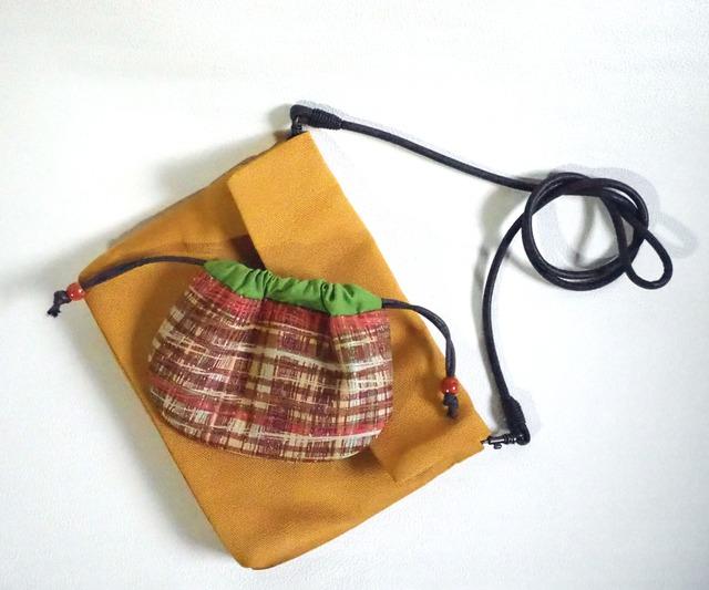 からし色のショルダーとシックな巾着のセット(受注制作)-帯地・着物地から