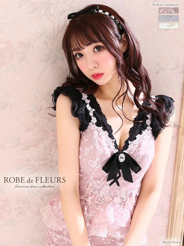 【ROBE de FLEURS】刺繍レース×ペプラムセットアップタイトドレス【リボン付】(fm1928)