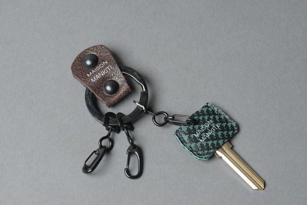 KEYRING・CAP ■ダークブラウン・ブラック チドリ■_本革真鍮キーリング・キーキャップセット_ - 画像2