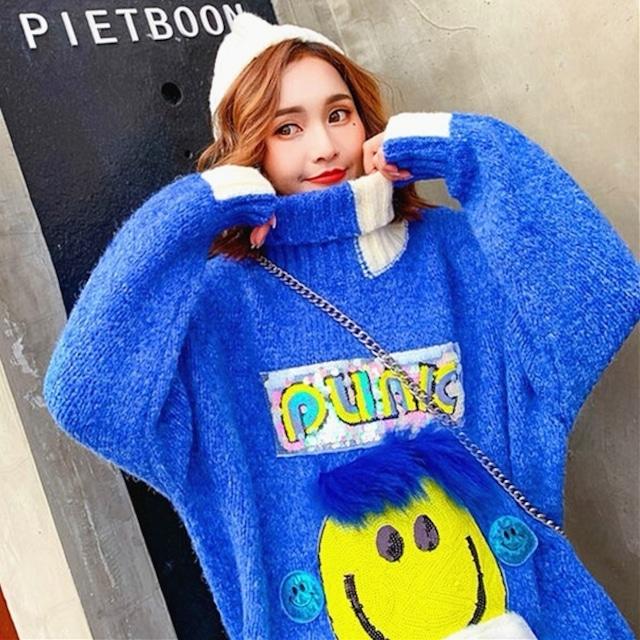 【トップス】instagram人気笑顔模様キュートセーター25968912