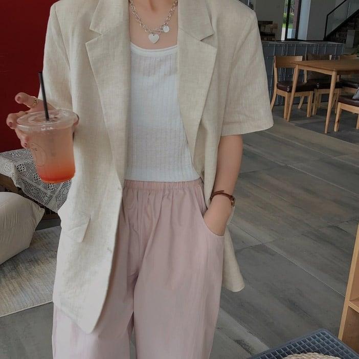 Linen half sleeve jacket(リネンハーフスリーブジャケット)b-290