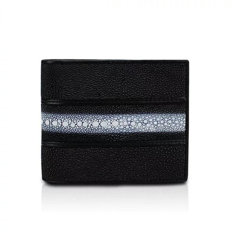 【エイ革財布】ユニセックス 二つ折り財布 レザー スティングレイ【金運アップ】