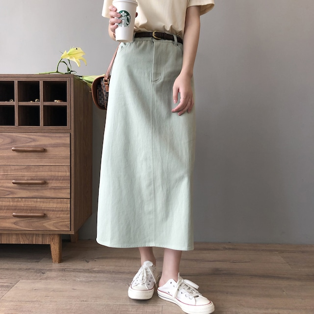 綿100% 可愛いロングタイトスカート