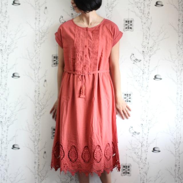 SALE★裾刺繍レースコットンワンピース【ブリックレッド】