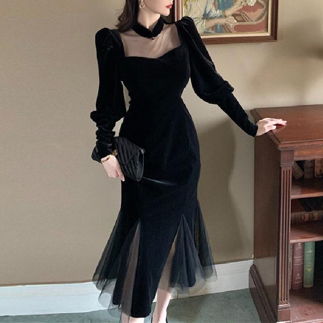 ワンピース ロングドレス 黒 パーティードレス チャイナ風 ベルベット 透かし彫り レトロ 視線集中 ブラック S M L