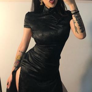 ゴシック ワンピース チャイナドレス ロング ゴスロリ セクシー 原宿 舞台衣装 中華風 ステージ衣装 キャバクラ レトロ ヴィンテージ 黒 9891