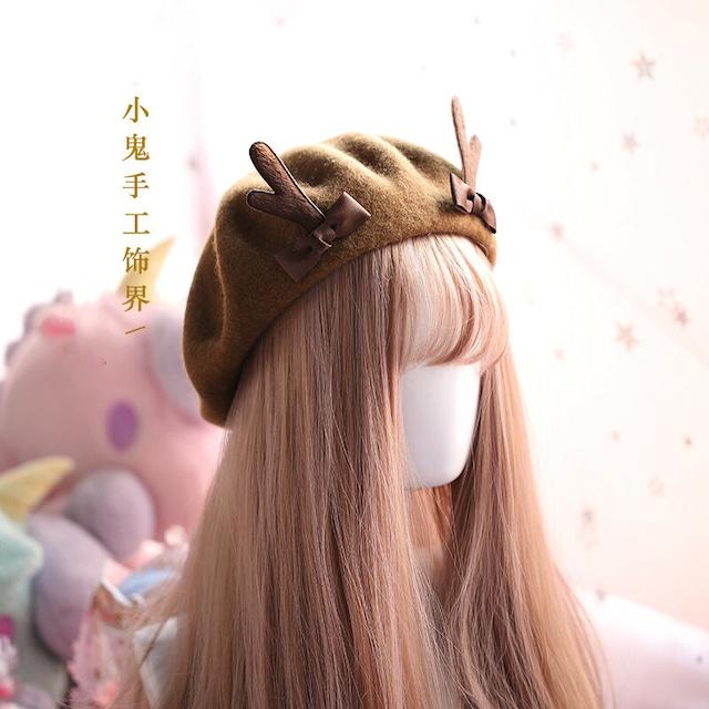 【小物】クリスマス鹿角キュートベレー帽43008501