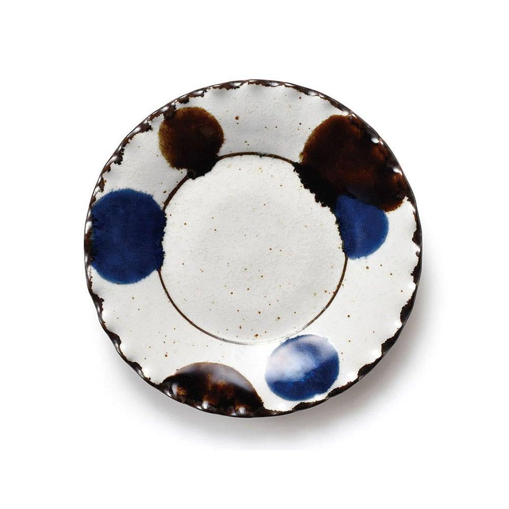aito製作所 「るり玉 Dots of Ruri」渕波 プレート 皿 約17cm グレー 美濃焼 288083