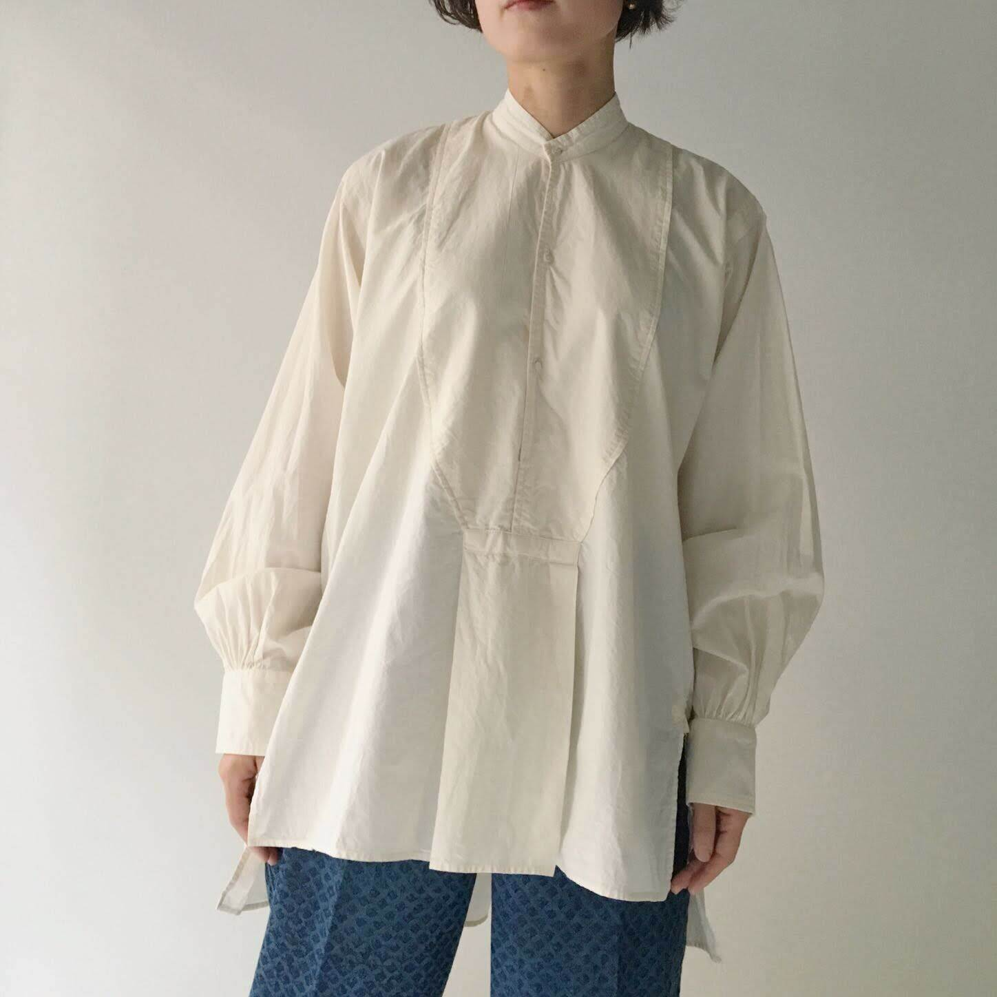 """Pullover gather blouse """"natural white"""" organic cotton"""
