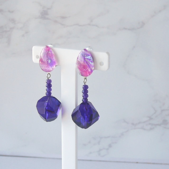 """ Earrings NO.0-1902″ ドロップペイントとイタリアヴィンテージ"
